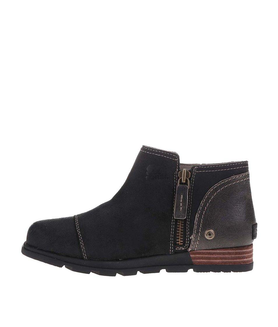 Černé dámské kožené kotníkové boty na zip SOREL Major Low