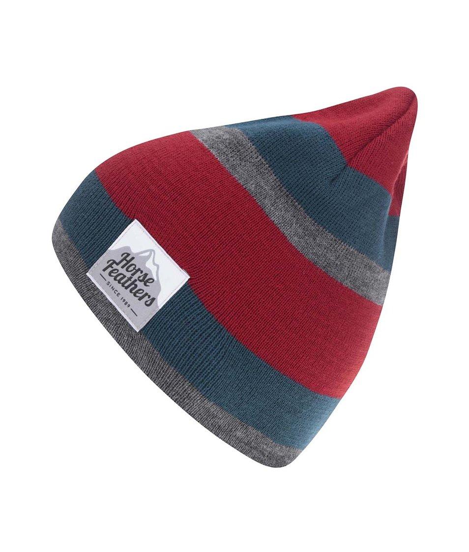 Modro-červená pánská čepice s šedým pruhem Horsefeathers Andy