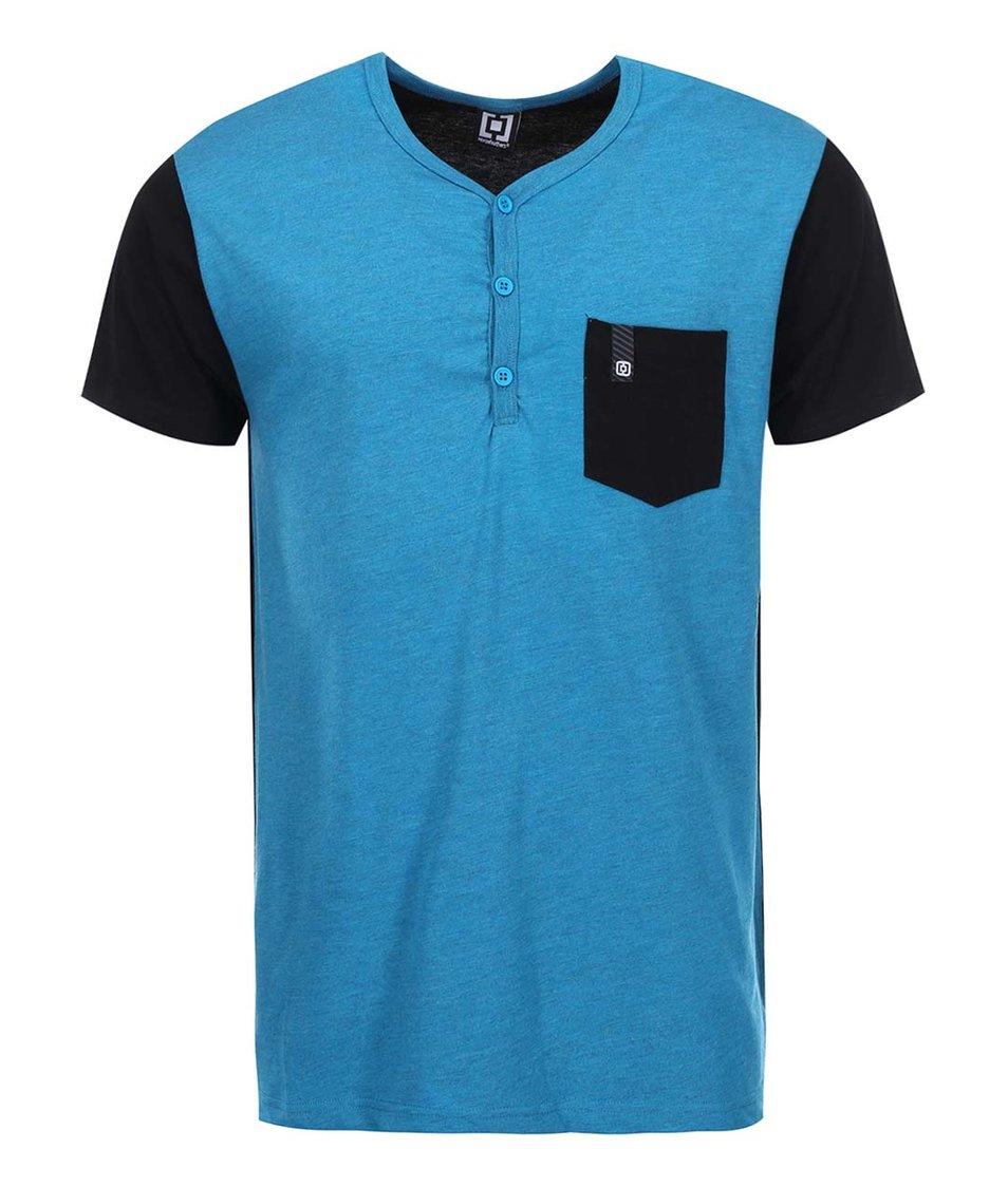 Modro-černé pánské triko s náprsní kapsou Horsefeathers March