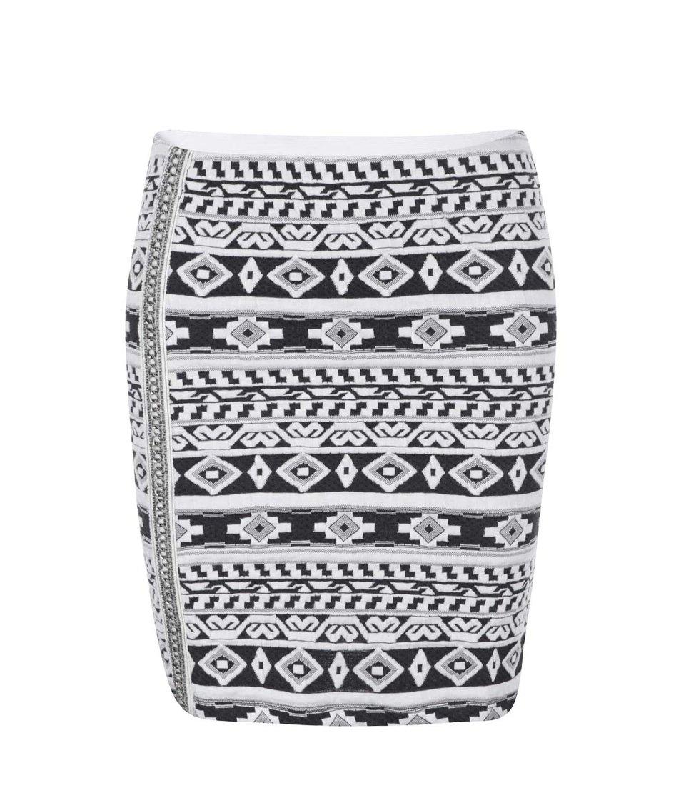 Bílá sukně s šedým vzorem ONLY Olympia