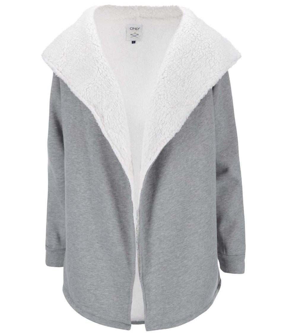 Světle šedý mikinový cardigan s kožíškem ONLY Valda