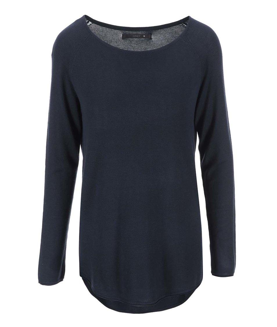 Tmavě modrý dlouhý lehký svetr ONLY Mila