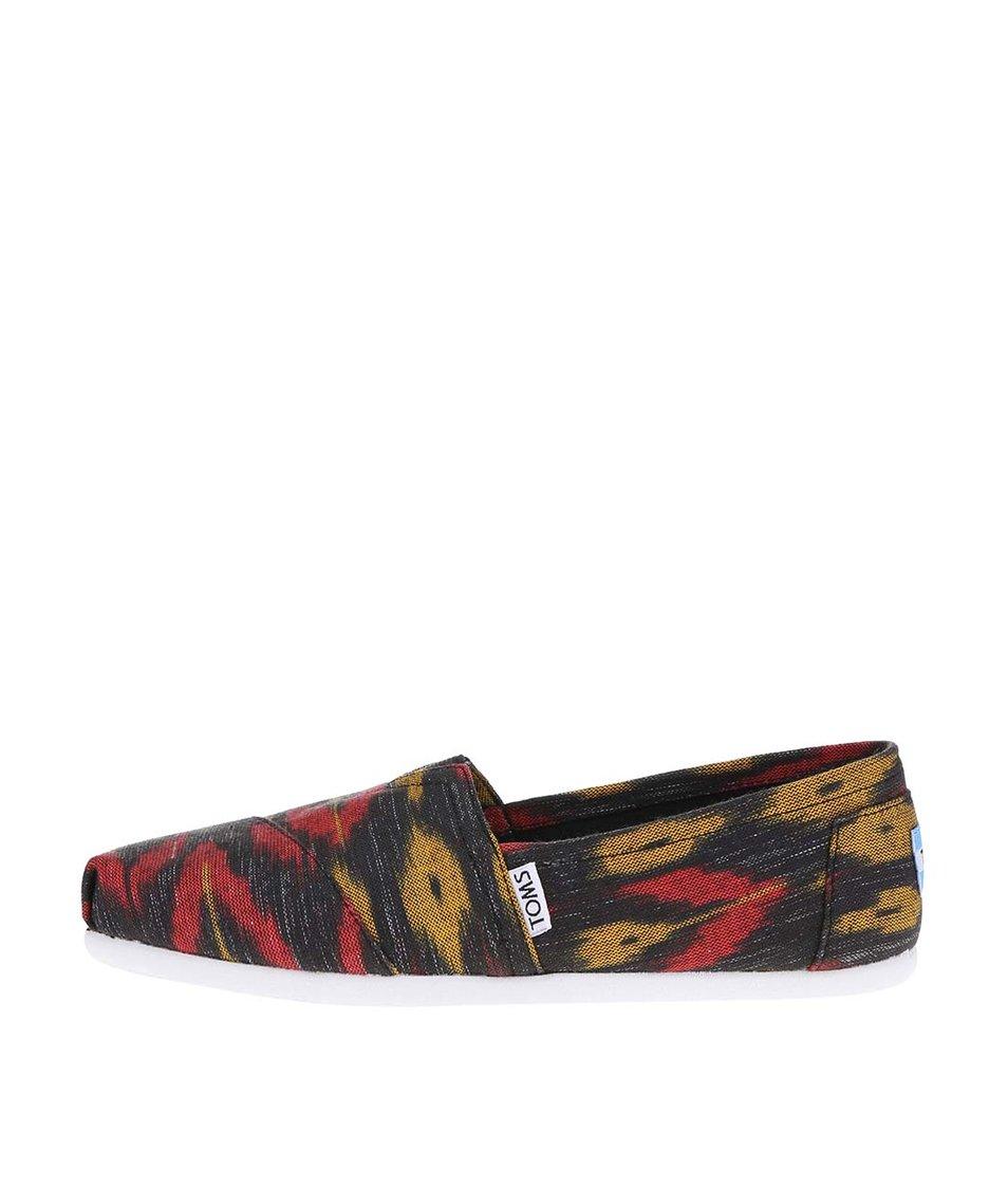 Černé dámské loafers s barevným vzorem Toms Alpr