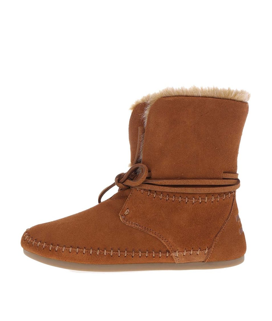 Hnědé dámské kožené boty s kožíškem Toms Zahara