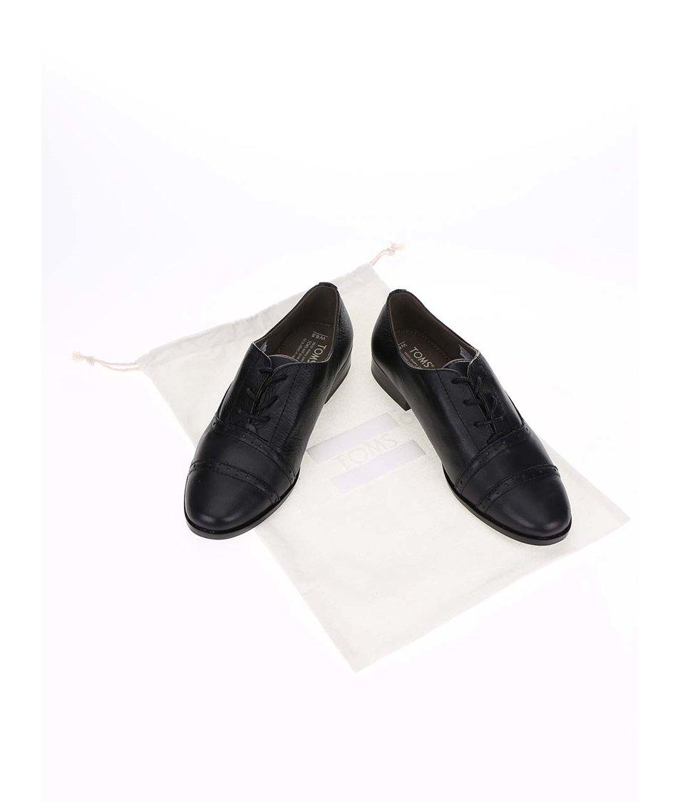 Černé dámské kožené polobotky Toms Mobr