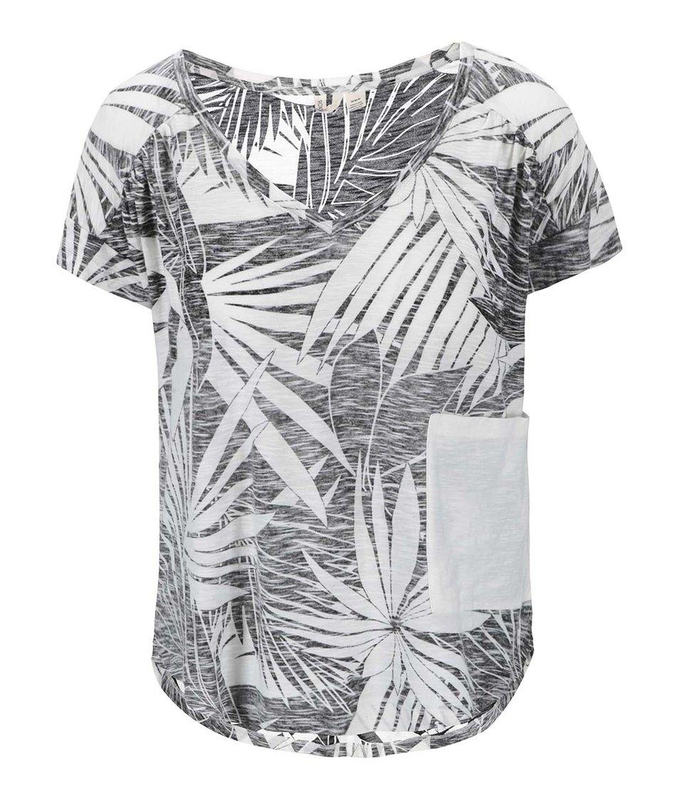 Bílo-černé tričko s palmovým vzorem Roxy Serenity Now