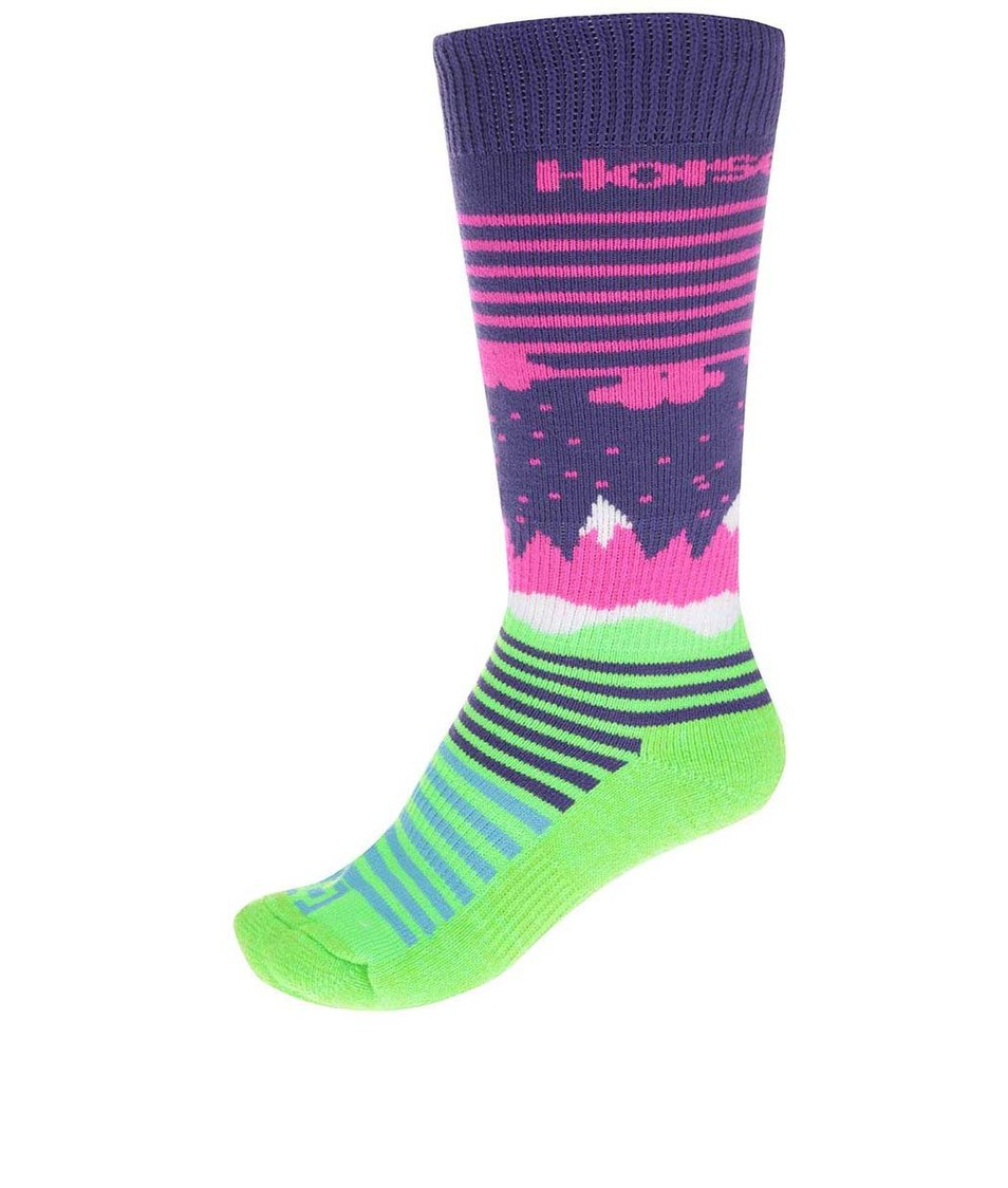 Zeleno-fialové dámské ponožky Horsefeathers Epic