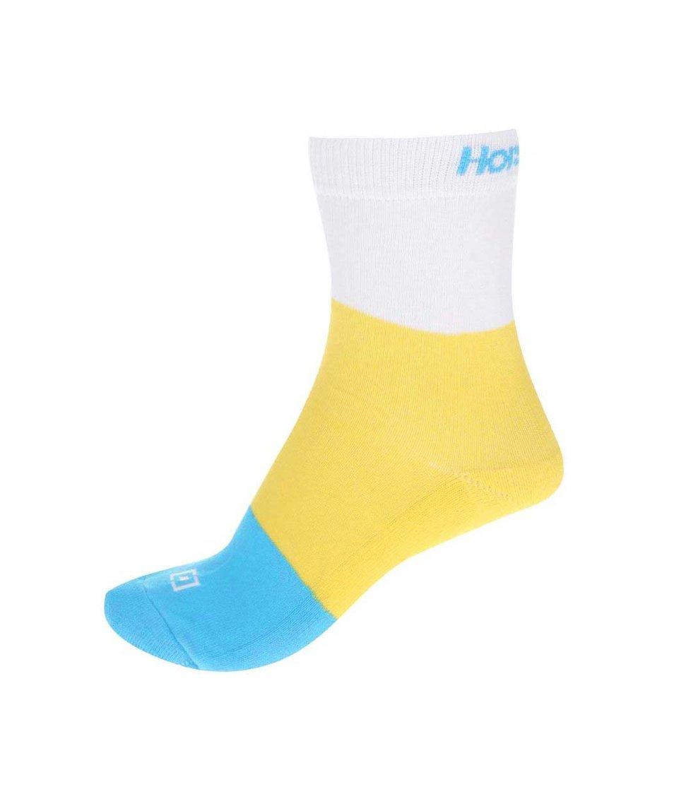 Modro-žluto-bílé dámské ponožky Horsefeathers Split