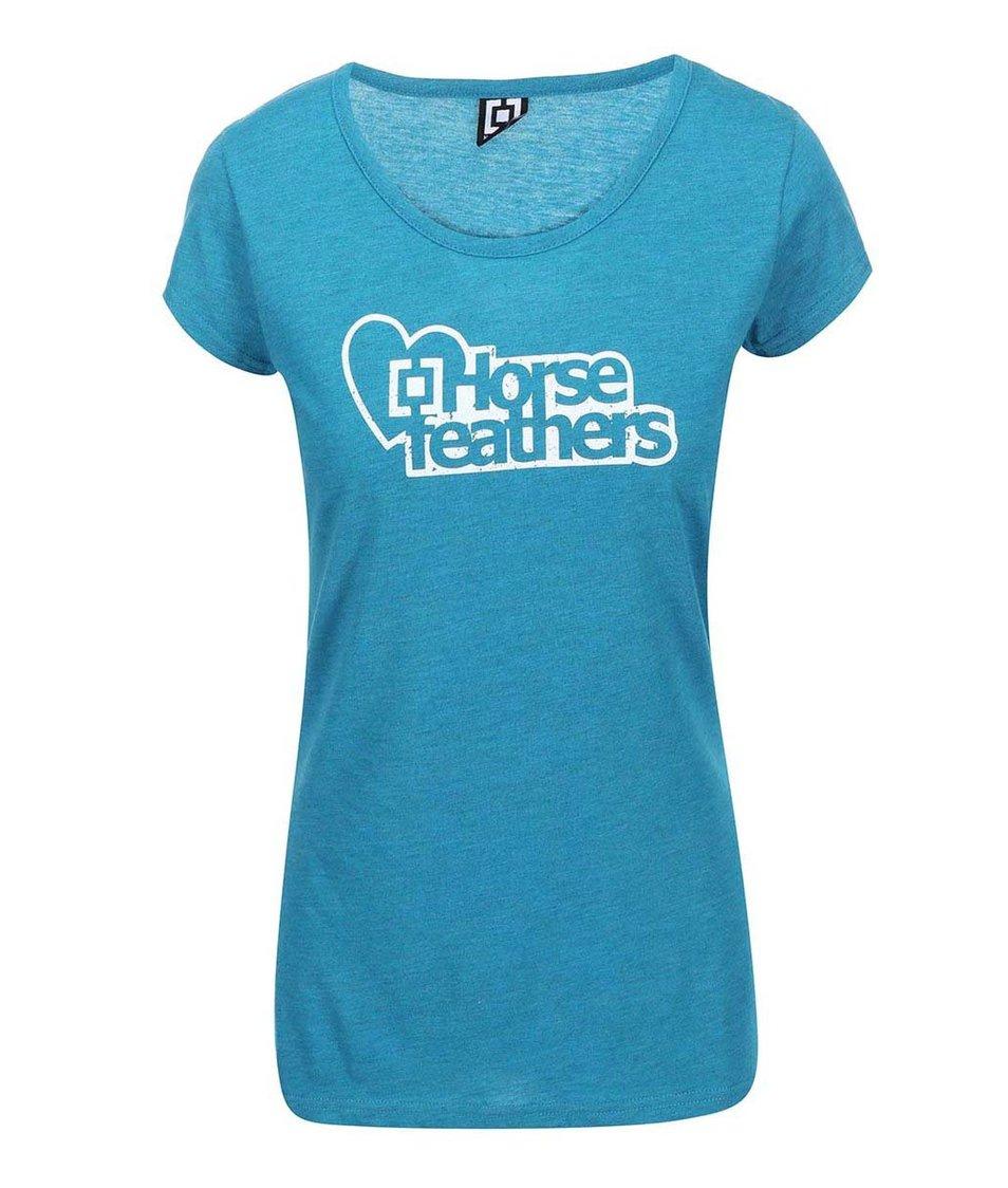 Modré dámské žíhané triko s logem Horsefeathers Jewel