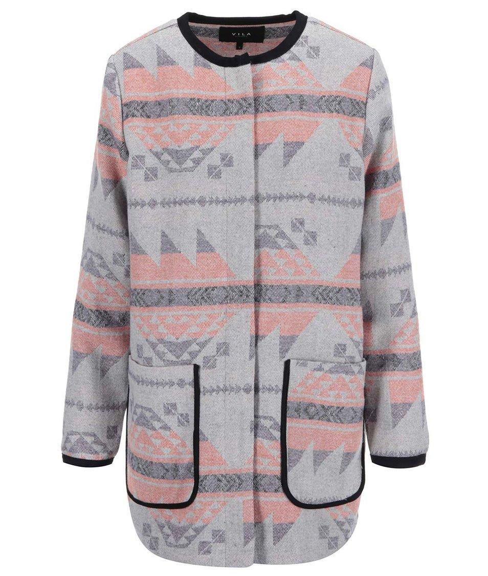 Meruňkovo-šedý lehký kabát se vzory VILA Kantos