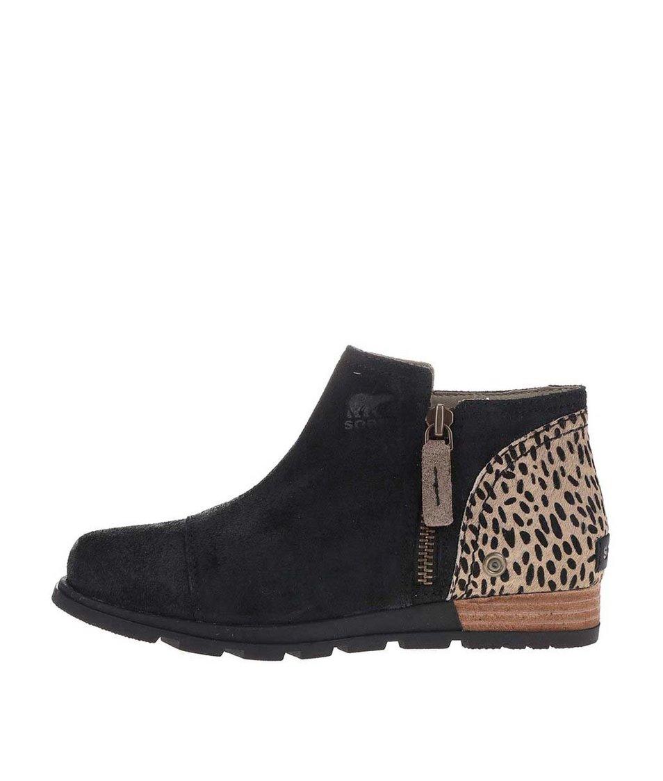 Černé dámské kožené kotníkové boty SOREL Major Low Premium