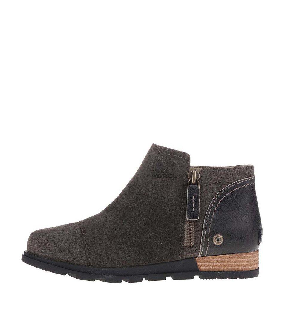 Tmavě hnědé dámské kožené kotníkové boty na zip SOREL Major Low