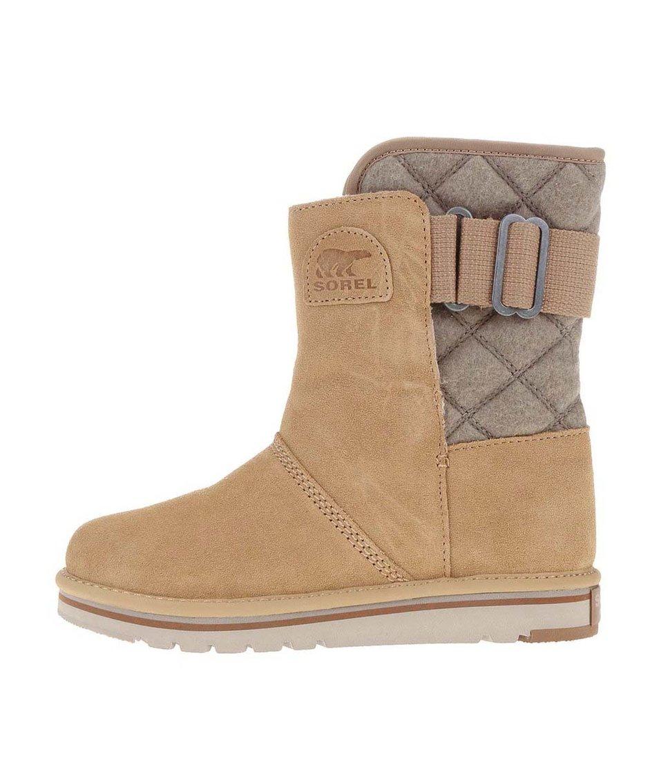 Béžové dámské kožené zimní boty SOREL The Campus