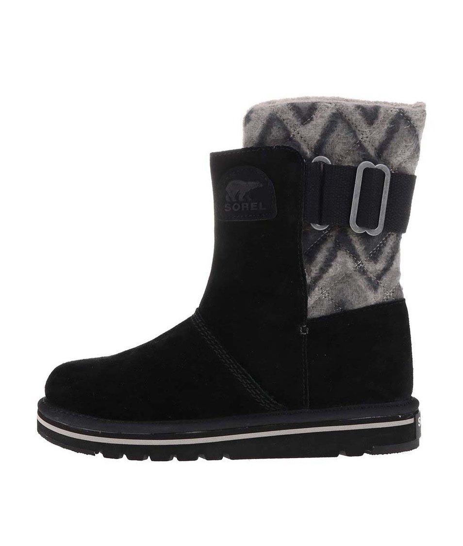 Černé dámské kožené zimní boty SOREL The Campus