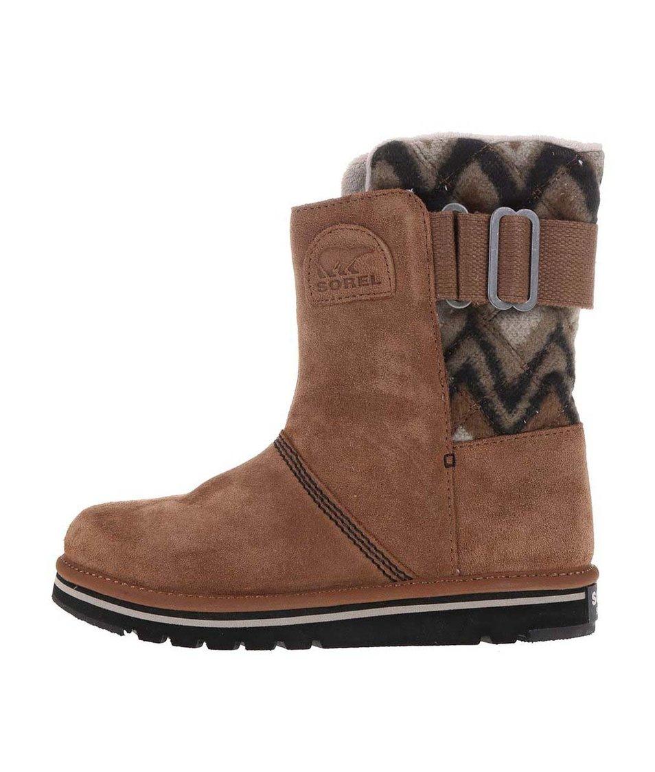 Hnědé dámské kožené zimní boty SOREL The Campus