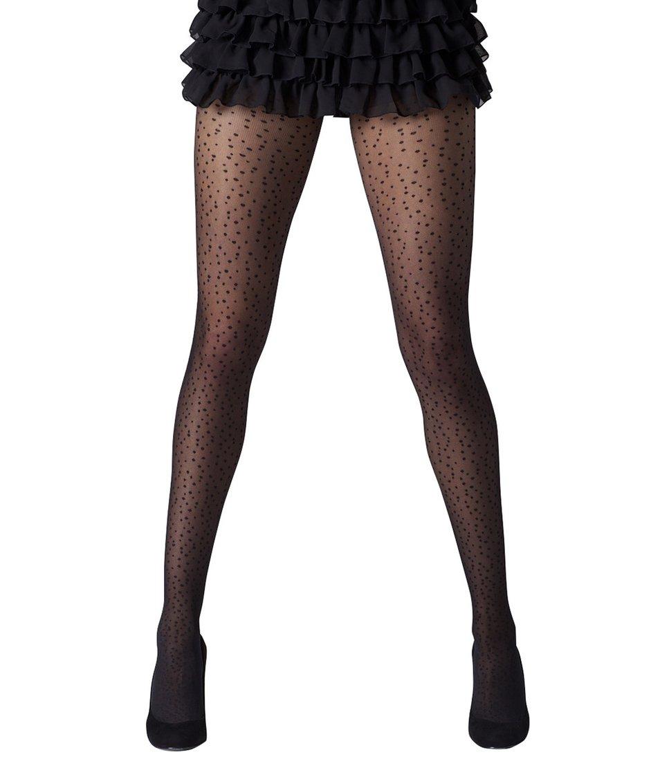 Černé punčocháče s tečkami Gipsy