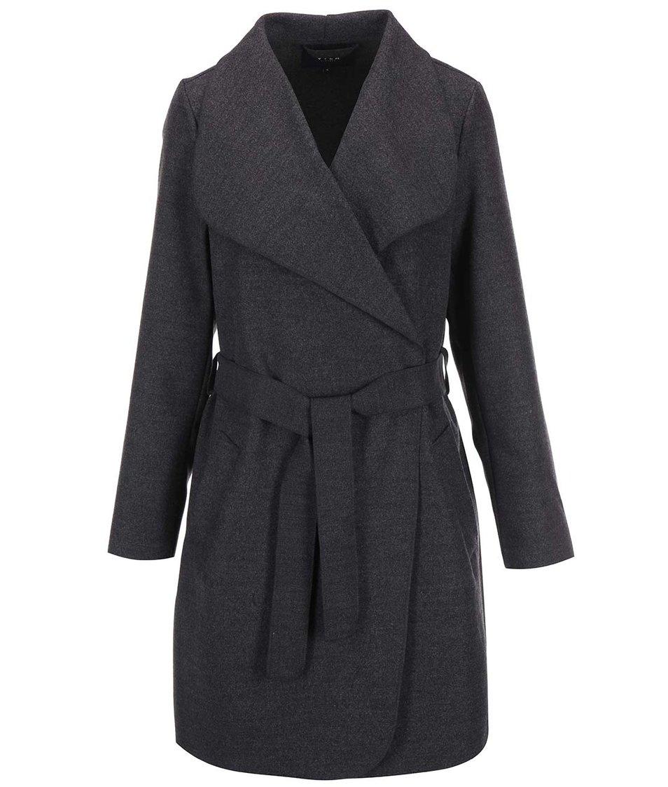 Tmavě šedý kabát na zavazování VILA Ida