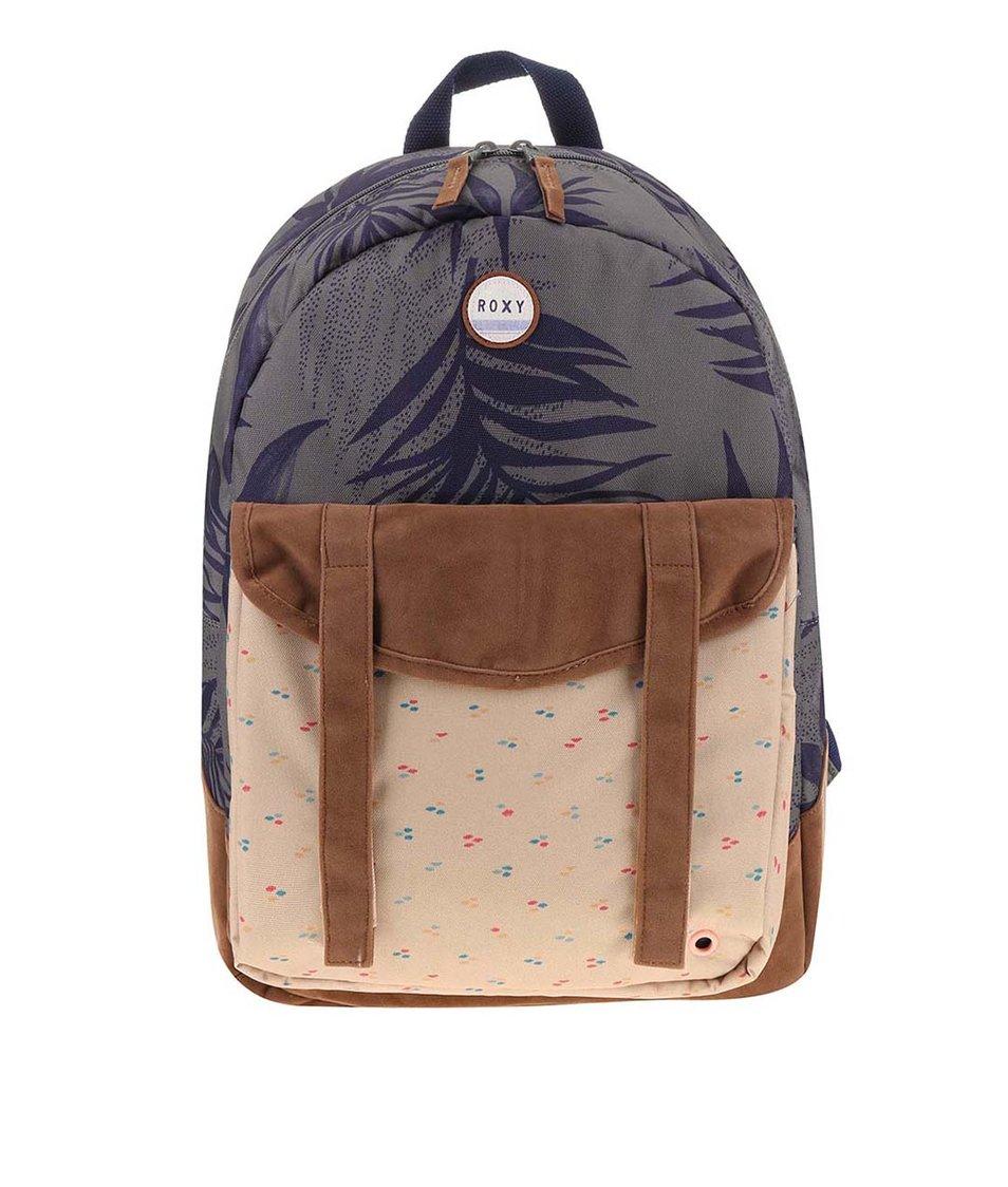 Béžovo-zelený batoh s motivem listů Roxy Melrose Backpac