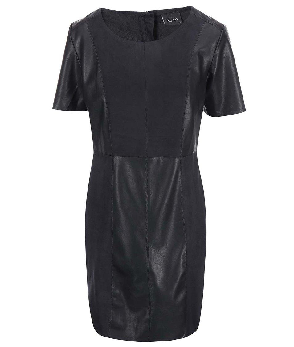 Černé šaty s koženkovými detaily VILA Dax