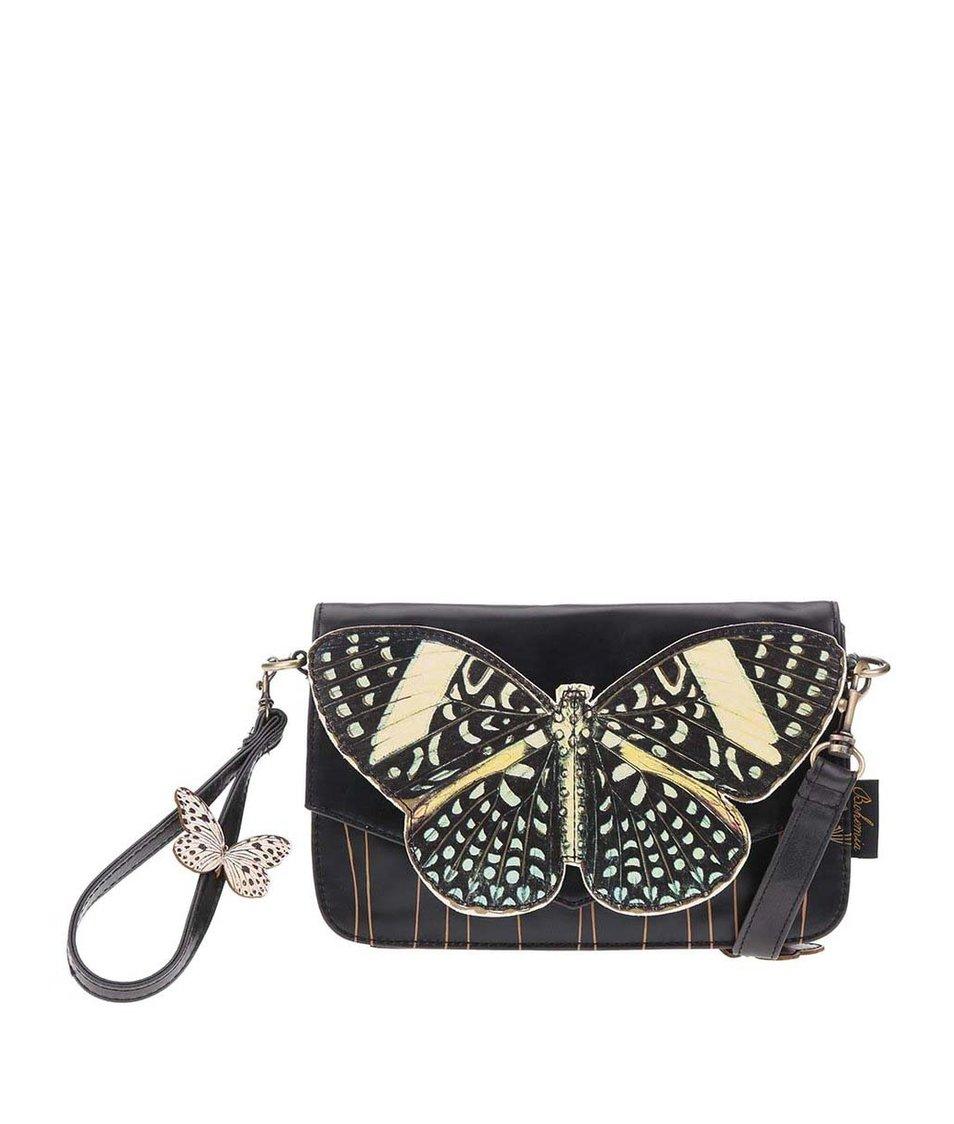 Černá kabelka/psaníčko s motýlem Disaster Bohemia