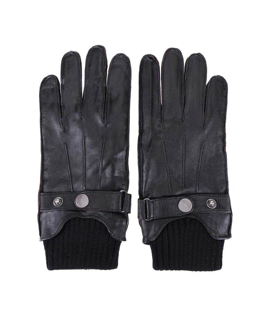 Černé kožené rukavice s náplety Jack & Jones