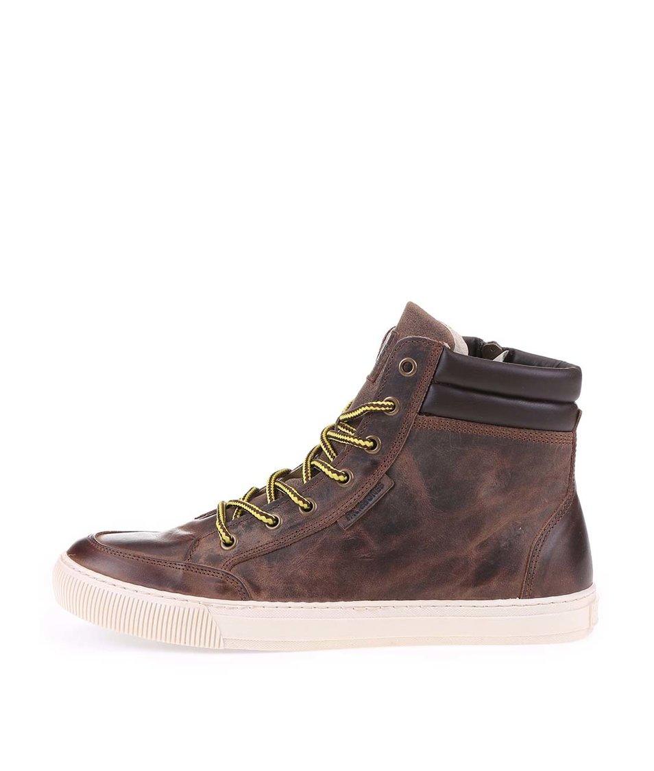 Tmavě hnědé kožené boty Jack & Jones Monton