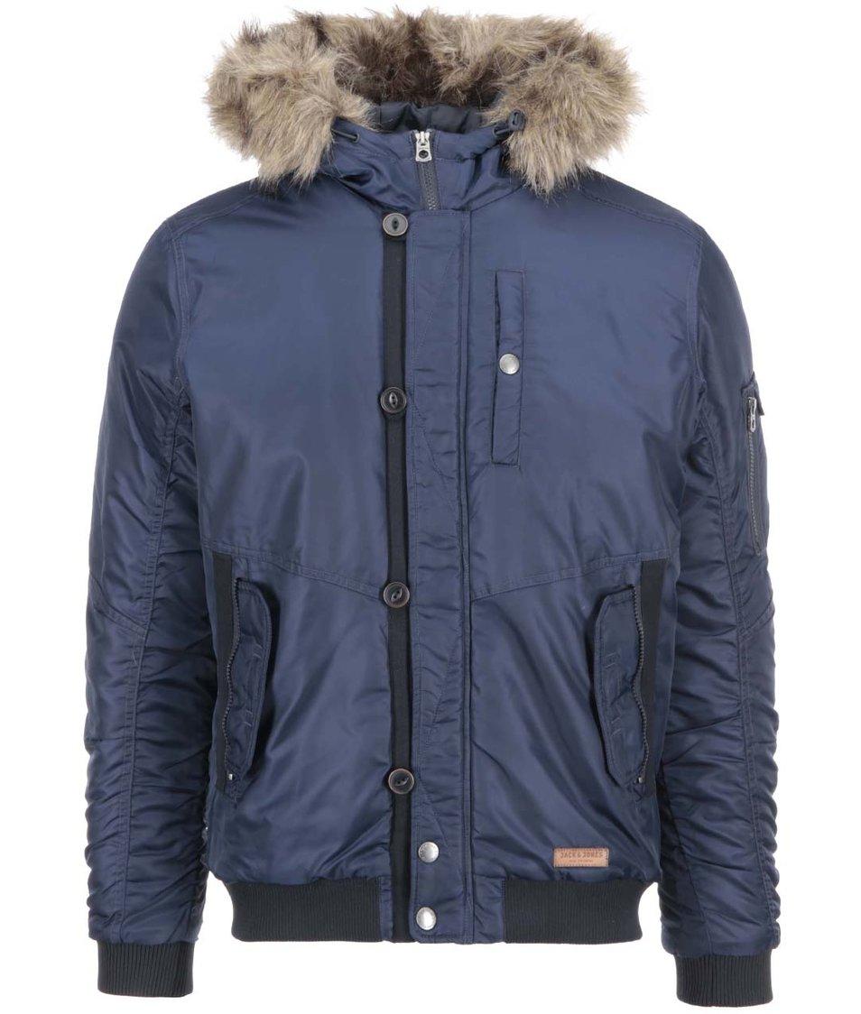 Tmavě modrá bunda s kapucí lemovanou kožíškem Jack & Jones Rob