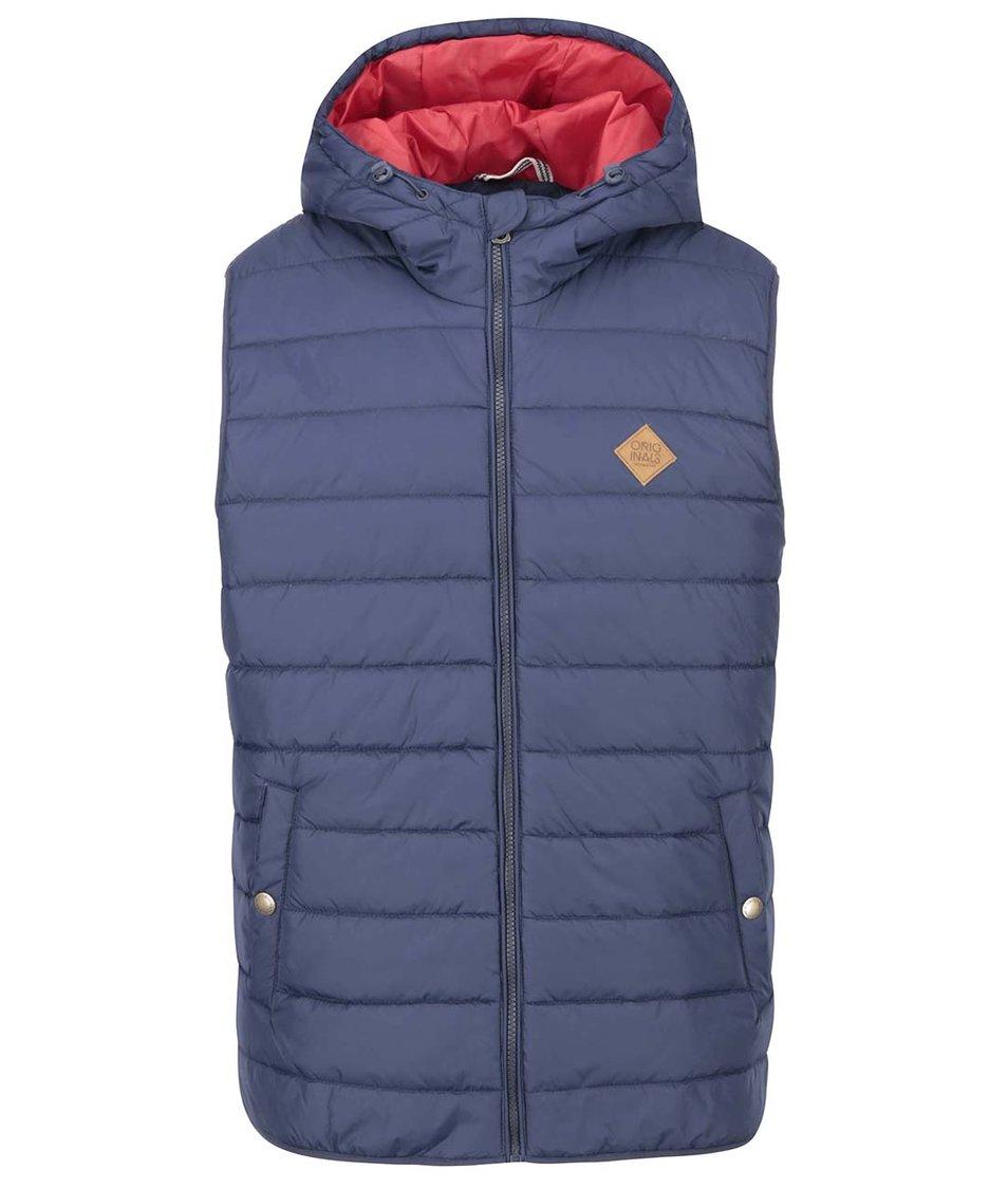 Modrá zimní vesta Jack & Jones Mandle