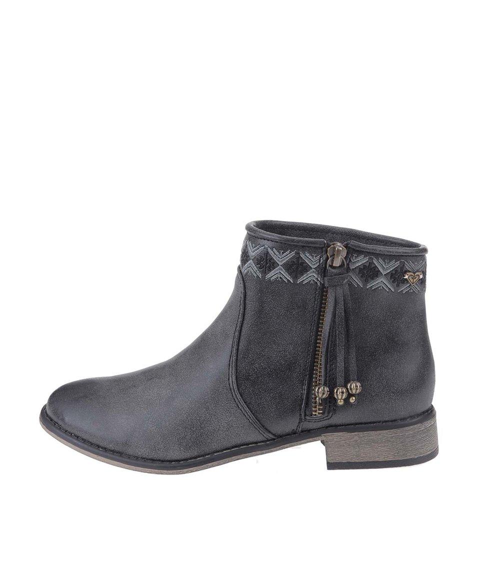 Šedé kotníkové boty na zip Roxy Sita