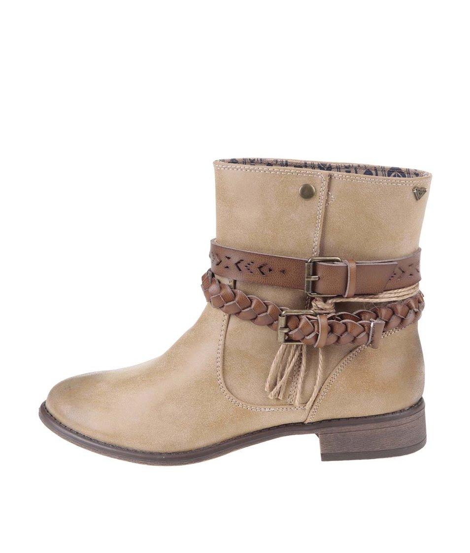 Světle hnědé kotníkové boty s přezkami Roxy Skye