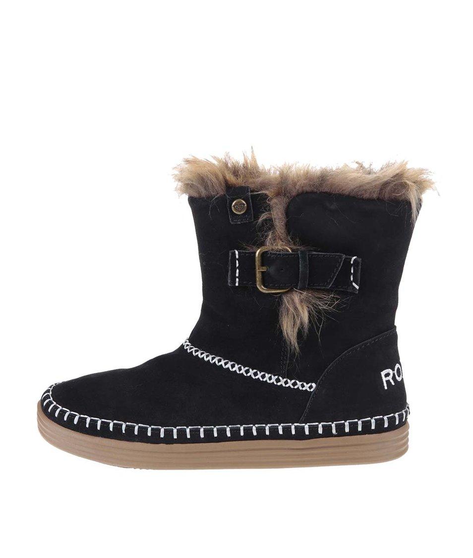 Černé vyšší kotníkové boty s kožíškem Roxy Ashley