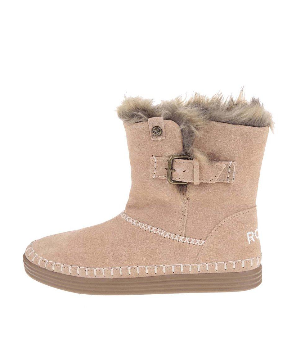 Hnědé vyšší kotníkové boty s kožíškem Roxy Ashley