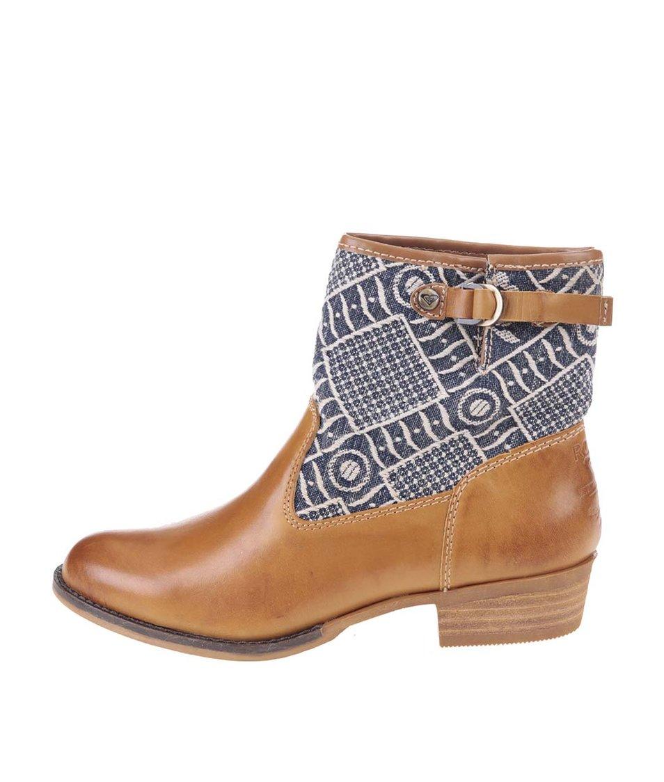 Hnědé kožené kotníkové boty s prošíváním Roxy Clyde