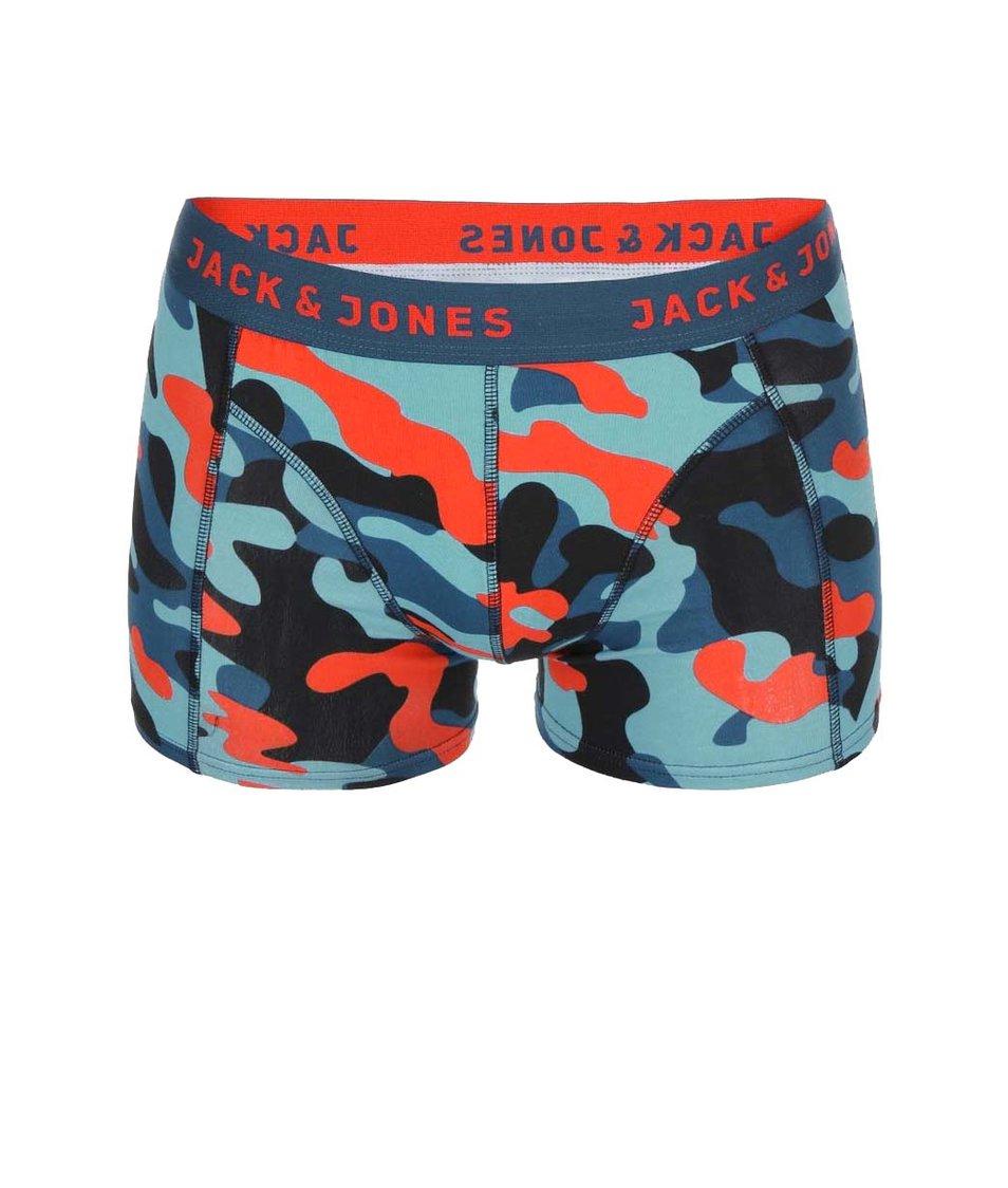 Oranžovo-modré maskáčové boxerky Jack & Jones Colour Camo