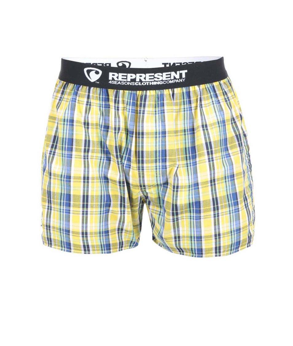Žluto-modré kostkované trenýrky s gumou Represent Mikebox