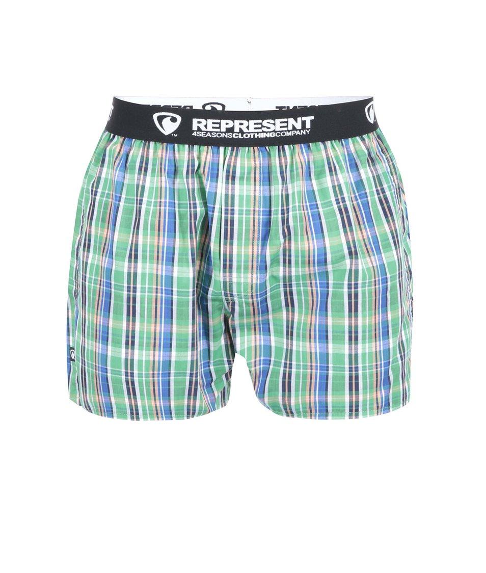 Zelené kostkované trenýrky s barevnými pruhy Represent Mikebox