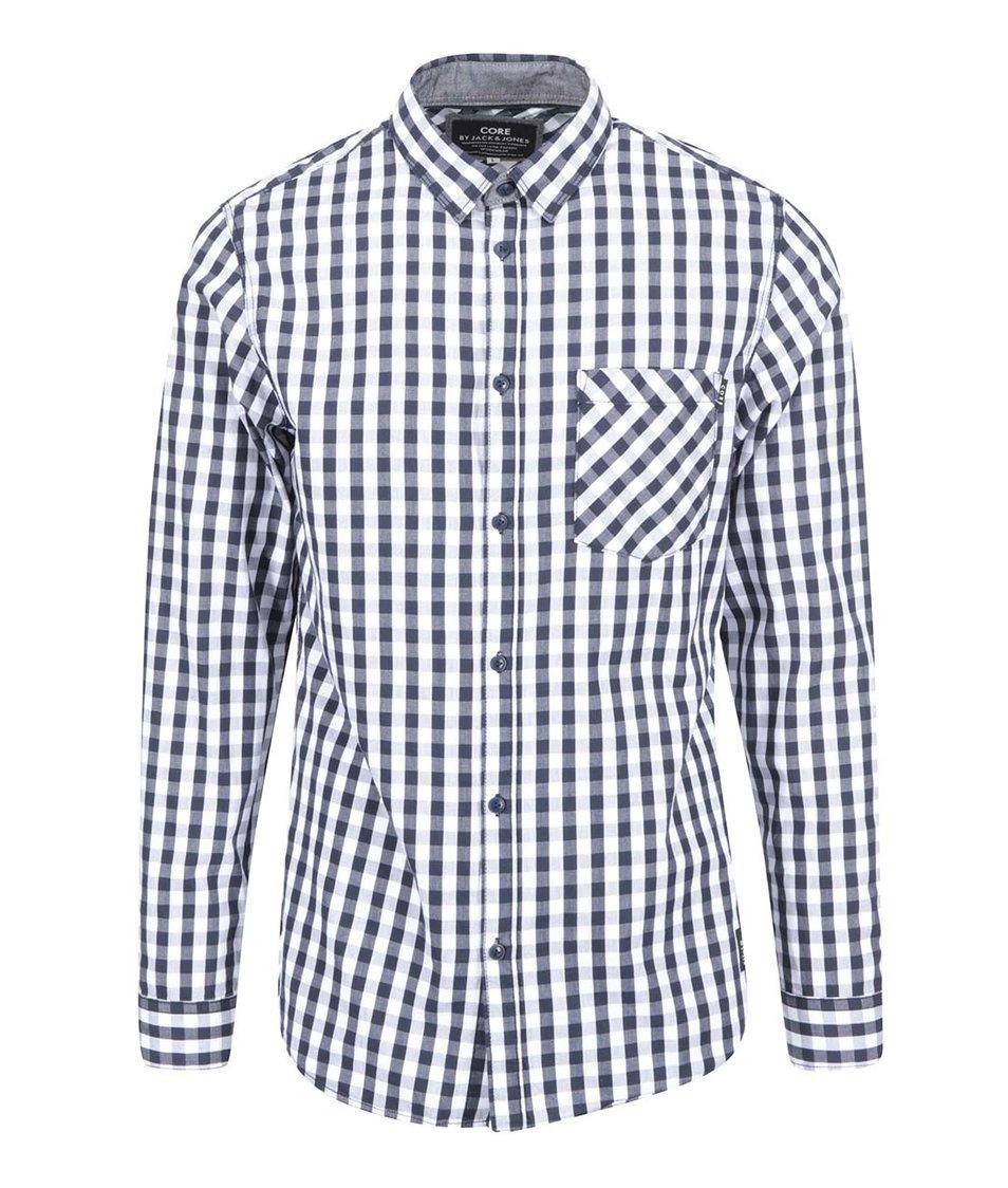 Tmavě modrá kostkovaná košile Jack & Jones Leonard