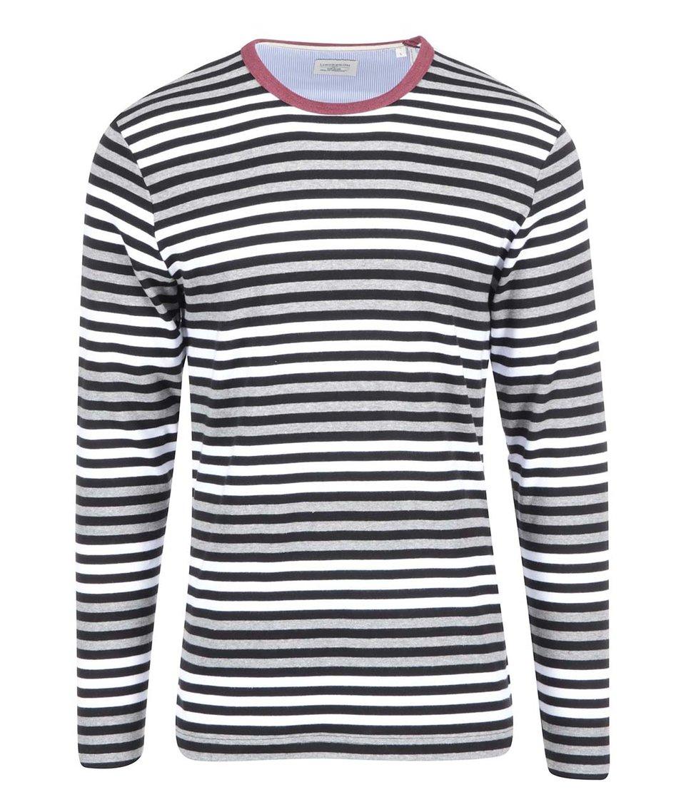Bílo-šedo-černé pruhované triko Lindbergh