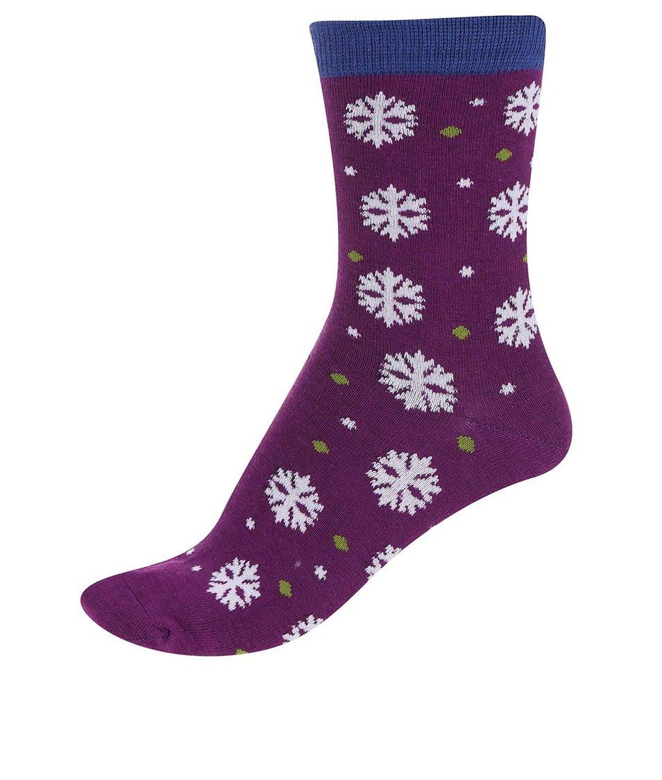 Fialové dámské bambusové ponožky s vločkami Braintree Blair