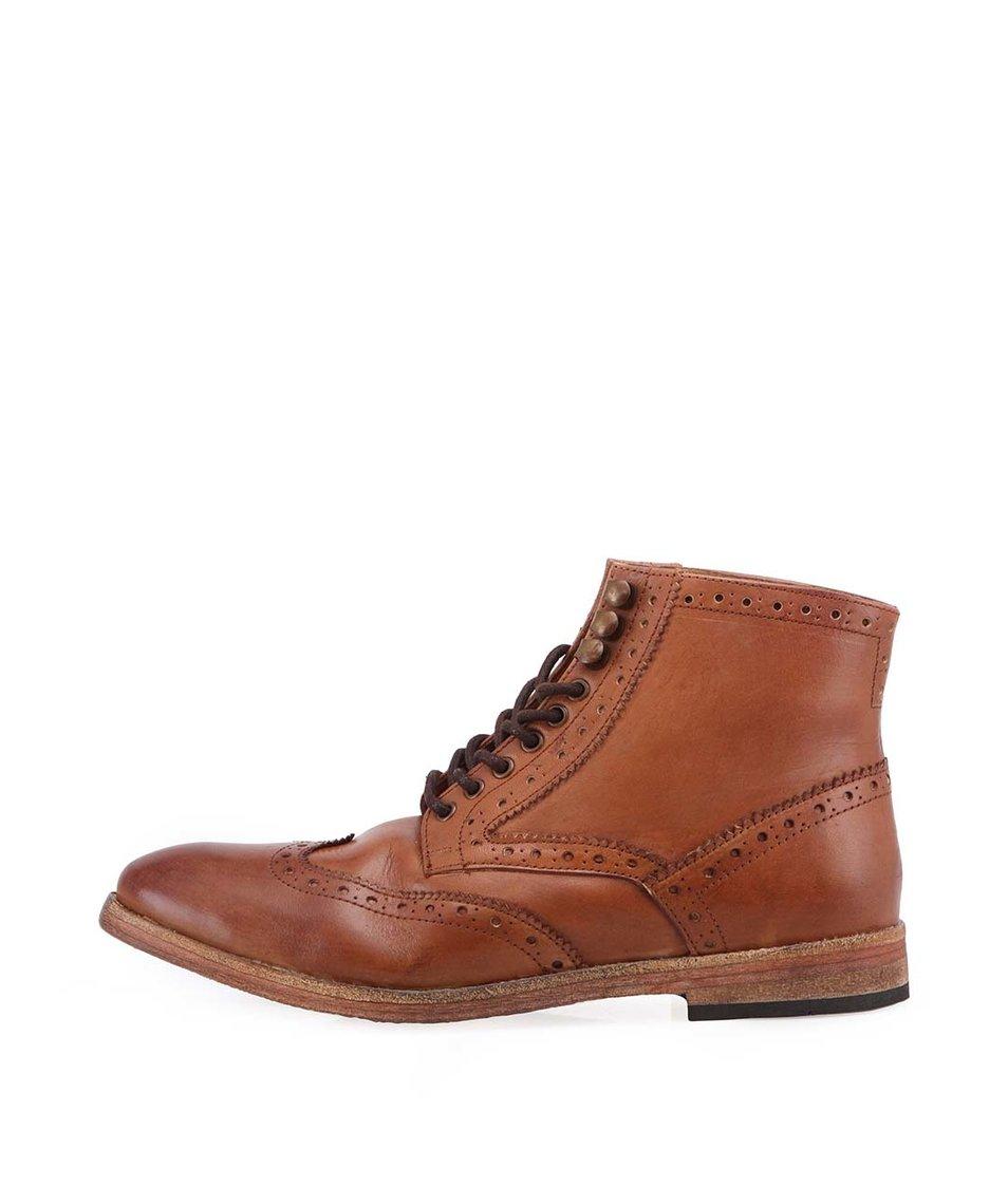 Hnědé kožené kotníkové boty Frank Wright Whitby