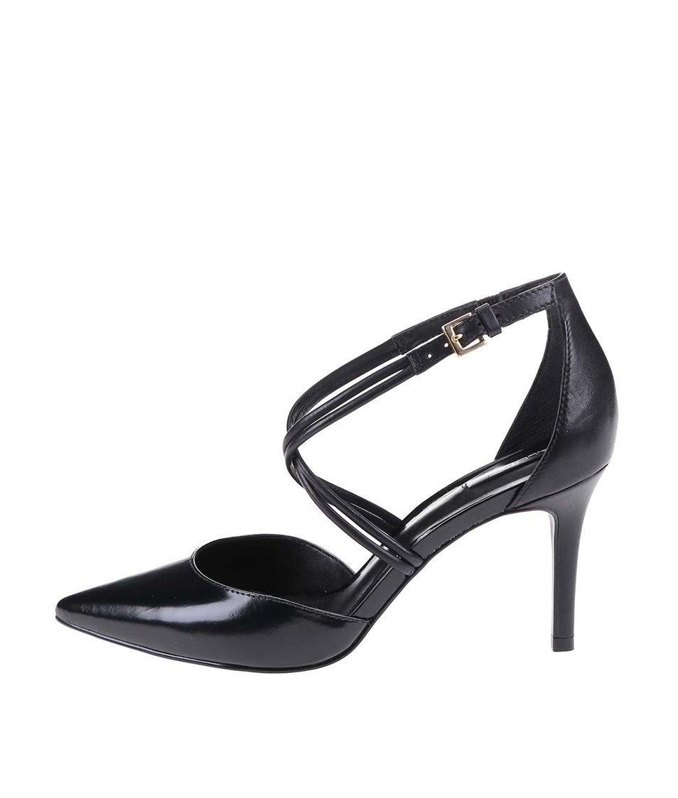 Černé kožené sandálky na podpatku ALDO Newbrook