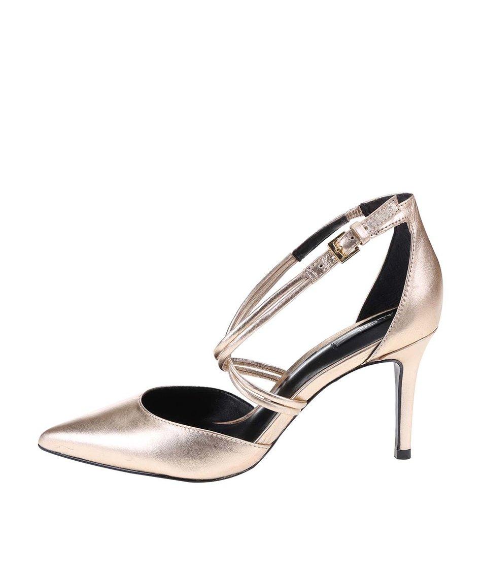 Kožené sandálky ve zlaté barvě na podpatku ALDO Newbrook