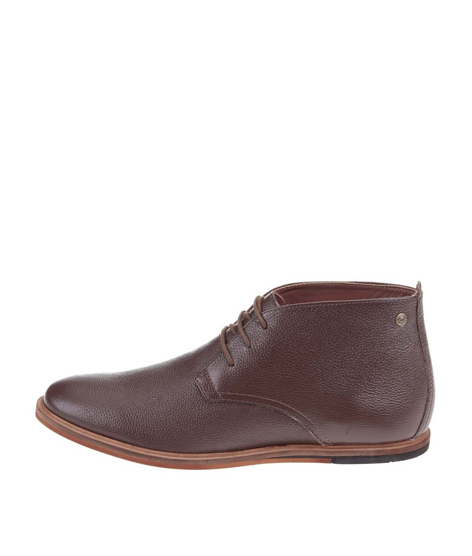 Tmavě hnědé kožené kotníkové boty Frank Wright Strachan
