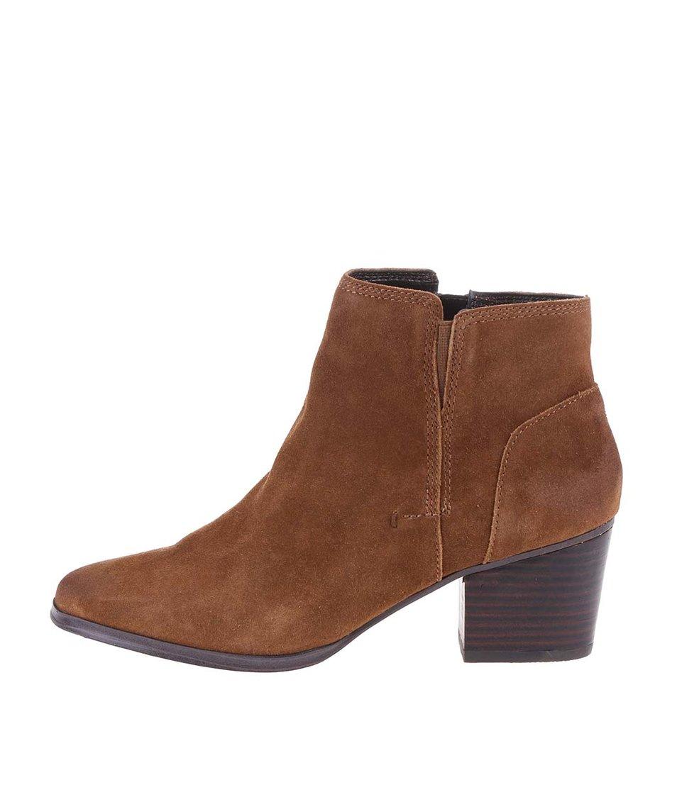 Hnědé kožené boty ALDO Lillianne