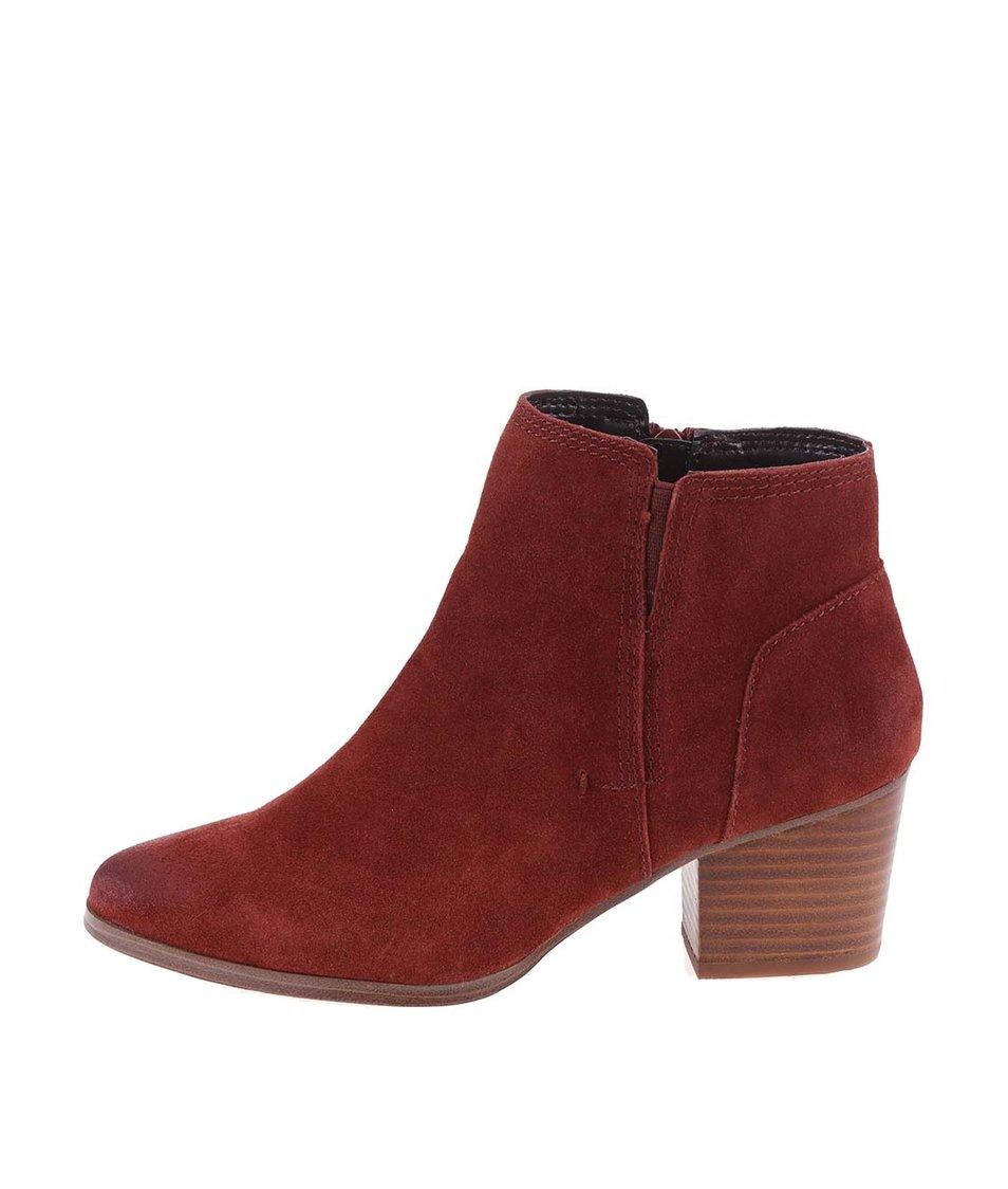 Hnědočervené kožené boty ALDO Lillianne