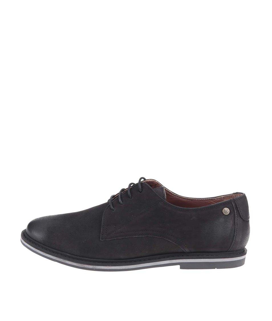 Černé kožené boty Frank Wright Woking