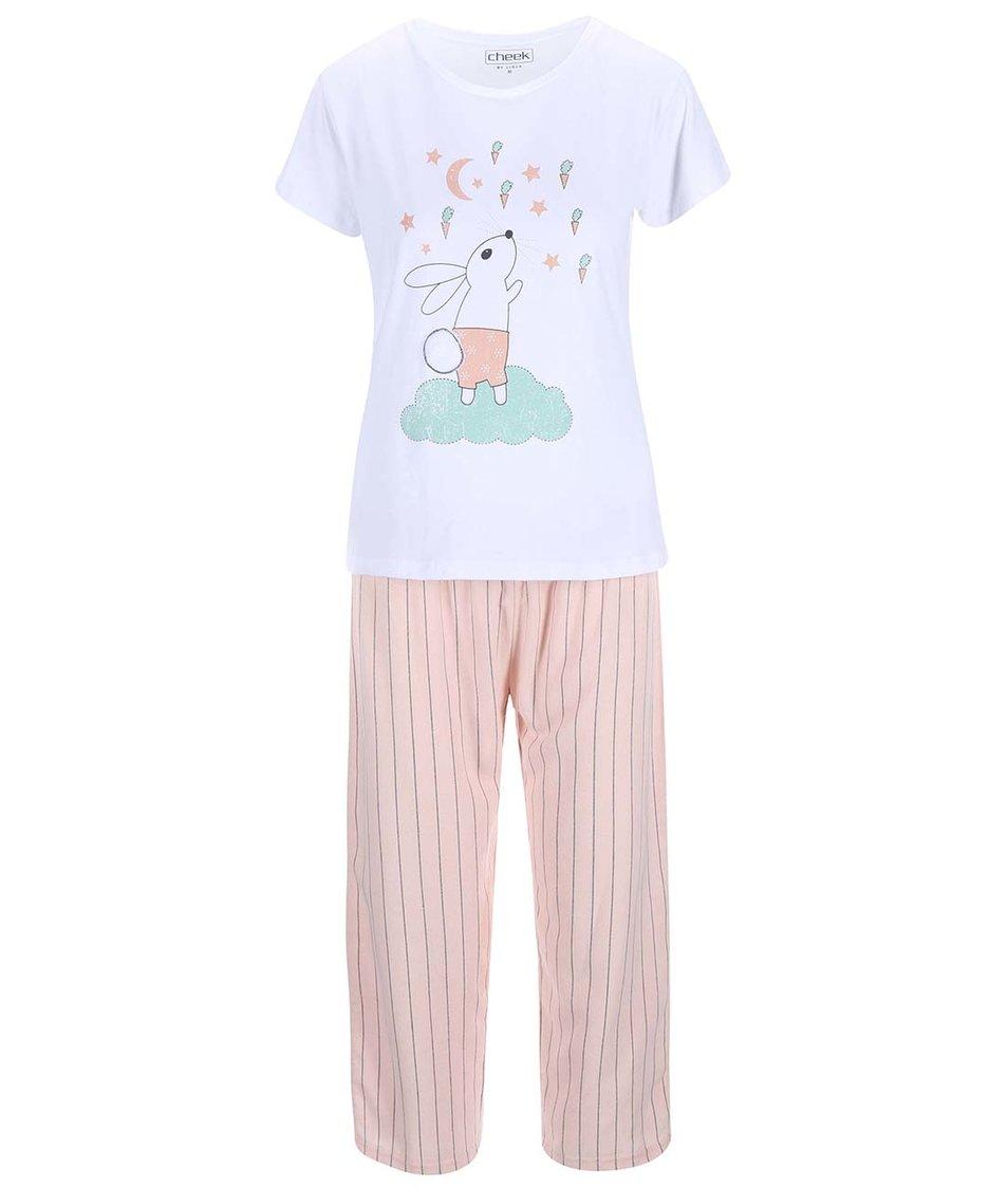 Bílo-růžové pyžamo s potiskem Lisca Wittily