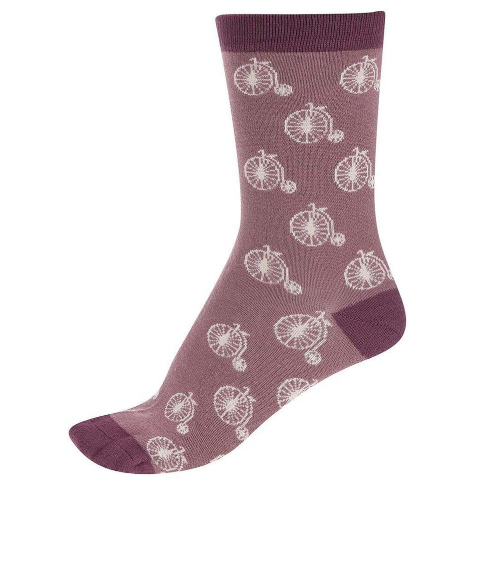 Hnědo-růžové dámské bambusové ponožky Braintree Penny Farthing