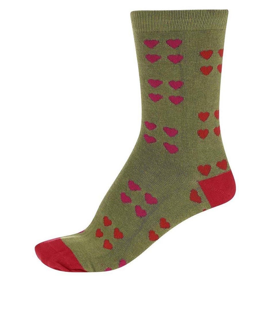 Zelené dámské bambusové ponožky se srdíčky Braintree Melrose