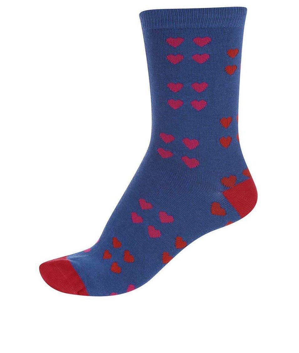 Modré dámské bambusové ponožky se srdíčky Braintree Melrose
